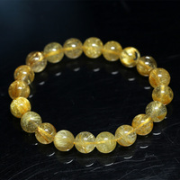 Natural Genuine Yellow Gold Hair Rutile Quartz Stretch Men's Bracelet Round Beads 9mm