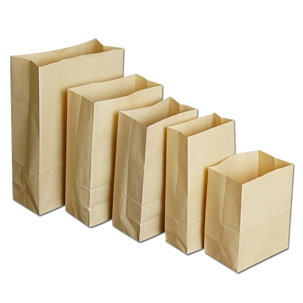 Store Supplies Brown Kraft Paper Packaging Bags Stand Up Bag Open Top Baked Food Cookies Storage Bags Buffet Package Bag 500Pcs