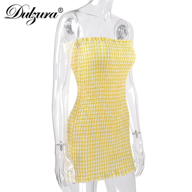 Dulzura off shoulder sleeveless Shirred check print bodycon dress women  sexy mini party dress 2018 summer-in Dresses from Women s Clothing on  Aliexpress.com ... f7d6c11b56ba