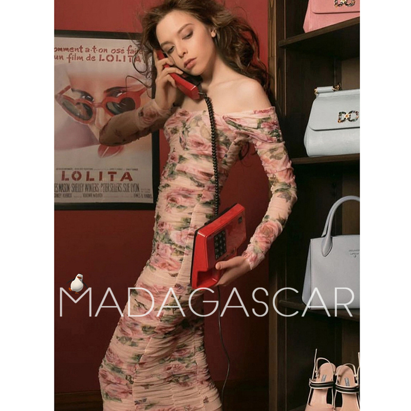2018 summer high end design Net yarn pressure plait elegant sexy Package buttocks Pink rose printing