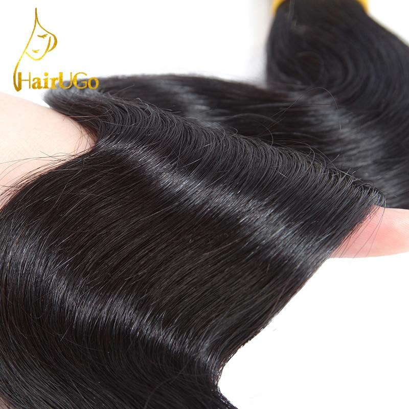 HairUGo Pre-coloured 3 Body Wave Bundels Wave Human Hair Bundels met - Mensenhaar (voor zwart) - Foto 4