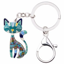 Psychedelic Patchwork Cat Keychain (6 Colors)