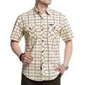 Large Size M-5XL Good Quality 2017 Summer men's casual brand army grid short shirt man afs jeep 100% cotton khaki plaid shirts