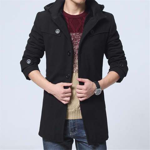 M-4XL Winter Trench Coat Men Hot Sale Woollen Coat Thick Mens Clothing Size 4XL Wool Jackets Karachi