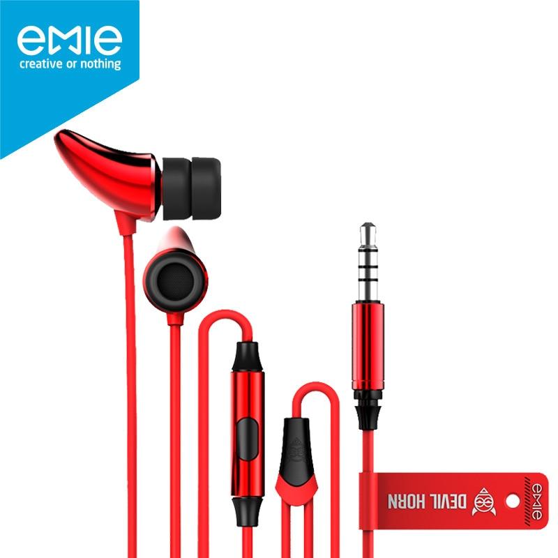 EMIE Earphone Devil Horn in Ear with MIC Control Deep Powerful Bass Sound for Xiaomi Huawei Meizu iPhone Brit Pop Punk Hallowmas
