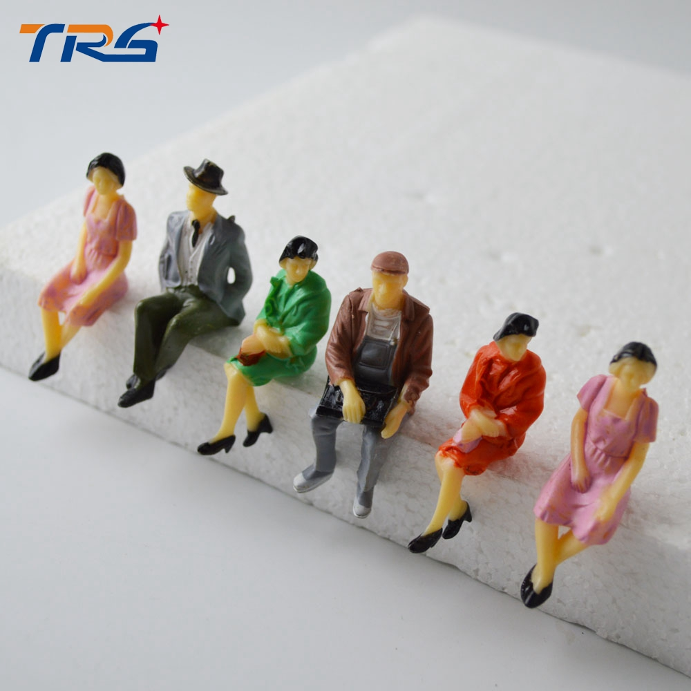 scale figures figure plastic sitting seated railway train architecture building making scenery passenger painted kits toys 50pcs abs park street