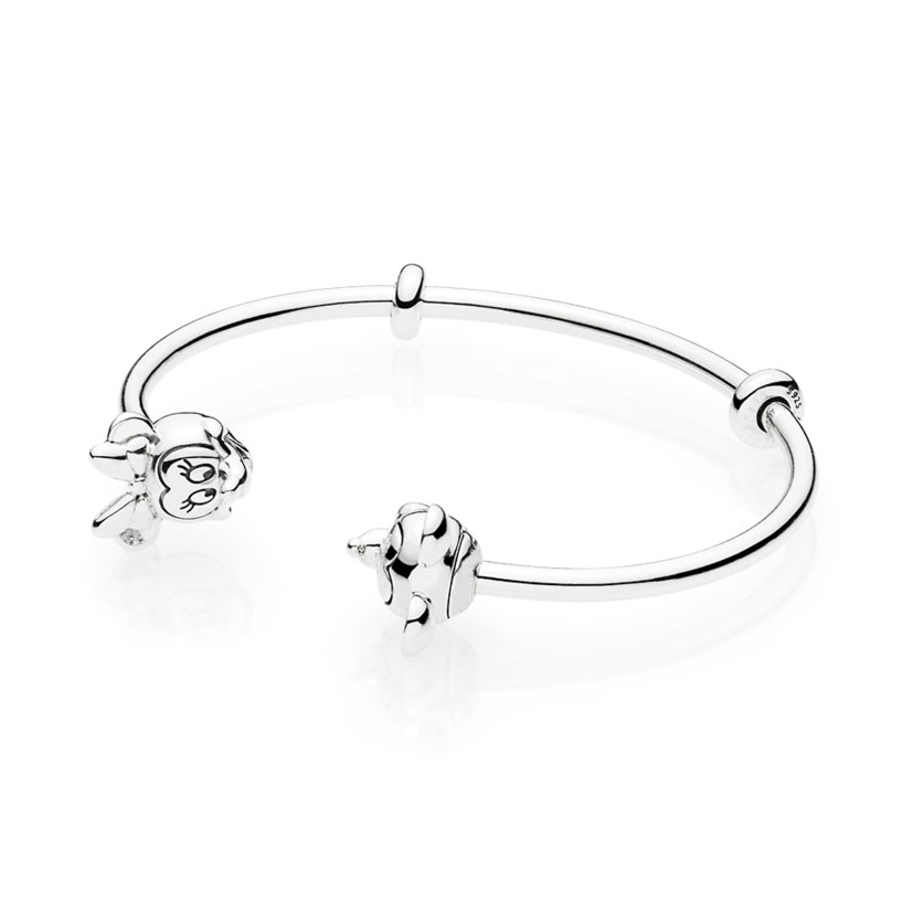 Best Quality 1:1 925 Sterling Silver Mickey Minnie charm Open Bangle Bracelet Fit Original Mickey Charm Bracelet DIY Jewelry