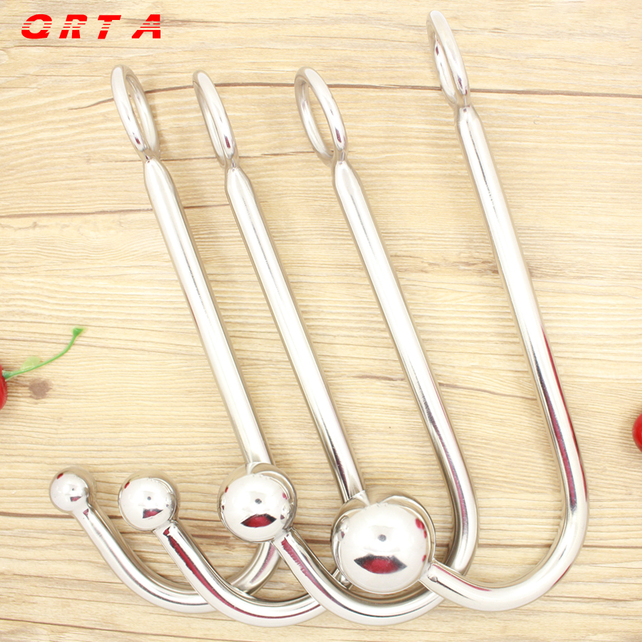 long 22.5cm Sexy Slave Top Quality Stainless Steel Anal Hook with Ball Hole Metal Anal Plug Butt Anal Sex Toys Adult Products