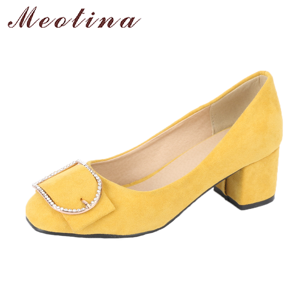 Meotina High Heels Women Shoes Pumps Crystal Shoes 2018 Spring Thick Heels Slip On Round Toe Ladies Shoes Yellow Plus Size 42 43 meotina shoes women high heels pumps spring peep toe gladiator shoes female chains sequined high heels platform shoes yellow 43