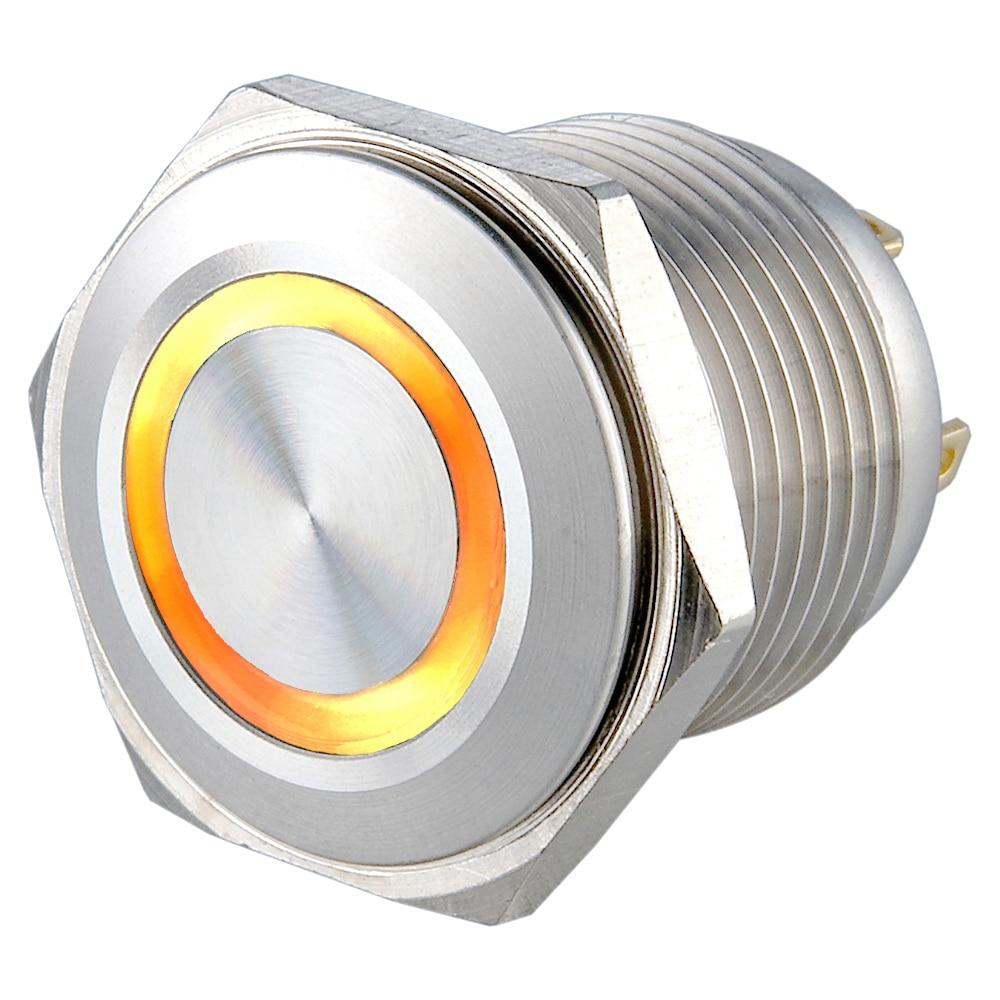 12 16MM Furo De Montagem de aço Inoxidável V amarelo anel botão de iluminação do interruptor elétrico