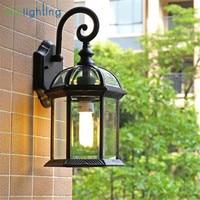 Rustic waterproof outdoor wall lamp antique outdoor garden lamps European retro balcony aisle lighting bronze black porch lamp
