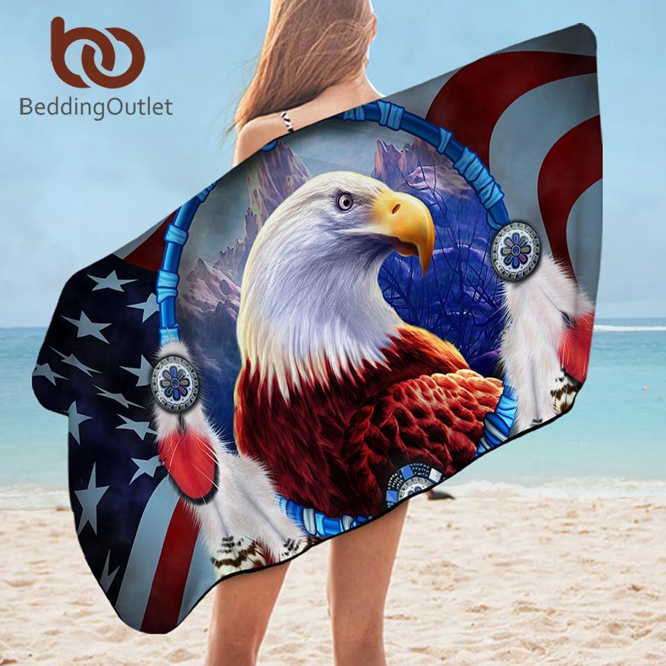 BeddingOutlet Eagle Bath Towel 3D Printed Microfiber Beach Towel for Adults Dreamcatcher Rectangle 75x150cm American Flag toalla