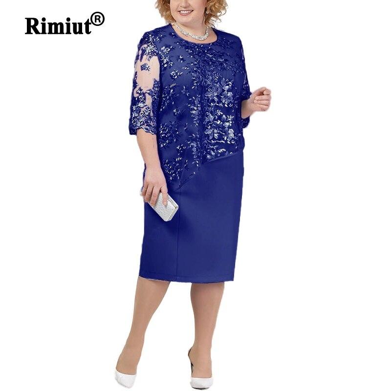 Rimiut New 4XL 5XL Women Lace Flower Dress Elegant Lady Short Sleeve Beauty Party Dresses Vestidos Knee Length Plus Size