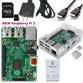 2016 raspberry pi quad-core 3 rpi3 3 pi3 com case wi-fi Starter Kit Bluetooth Wi-fi 64 GB de Cartão SD HDMI Adaptador de Energia Do Dissipador de Calor