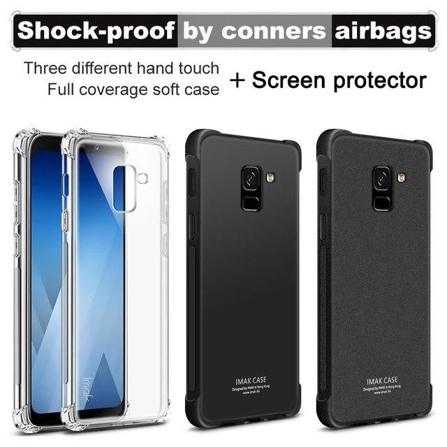 promo code 55ea0 2ec49 US $4.99 20% OFF|IMAK Corners Airbag Case for Samsung Galaxy A8 2018 Soft  TPU Cases for Samsung A5 2018 A530F Full Cover Matte Case Screen Film-in ...