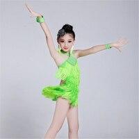 100 160cm Girls Fairy Lithe Christening Fringe Paillette Latin Dance Dress Tassel Salsa Kids Ballroom Dresses