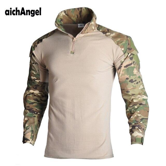 Военная армейская футболка Для мужчин с длинным рукавом камуфляжного цвета тактическая рубашка Охота Боевая MultiCam камуфляж футболка с длинным рукавом