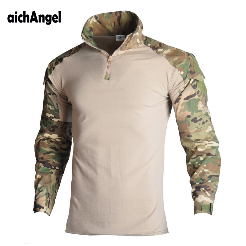 Military Army T-Shirt Men Long Sleeve Camouflage Tactical Shirt Hunt Combat Multicam Camo Long Sleeve T Shirt