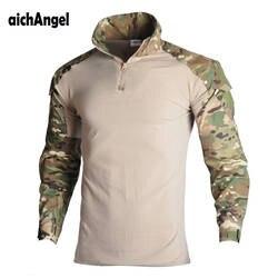 Военные армейская футболка Для мужчин с длинным рукавом камуфляж тактическая рубашка Охота армейские MultiCam камуфляж футболка с длинным