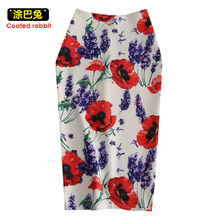 4b3aa326d8 CR Floral Print High Waist Skirt saias Women Pencil Skirts Female Faldas  Western Fashion Girls Slim
