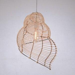 Image 4 - Artpad güneydoğu asya yaratıcı bambu kolye lamba deniz salyangoz şekli E27 hasır abajur şapkası çalışma için LED ışıkları salonu fikstür