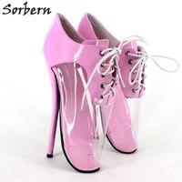Sorbern 18cm/7'' Women Ballet Thin Heel Pumps Shoes Plus Size Unisex Party Gay Dance Lace Up Pump PVC Real Image Pump Sexy