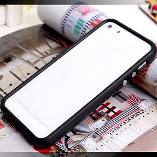 TPU Rubber Bumper Frame Cover with Metal Button For iPhone 5 5G 5S SE 5SE Without Retail Package Box