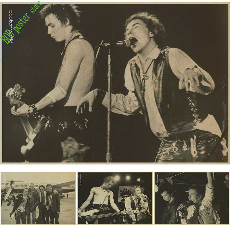 Sex Pistols Nostalgia Retro Rock Band Music Kraft Paper Poster Bar Cafe Living Room Dining room Wall Decorative Paintings
