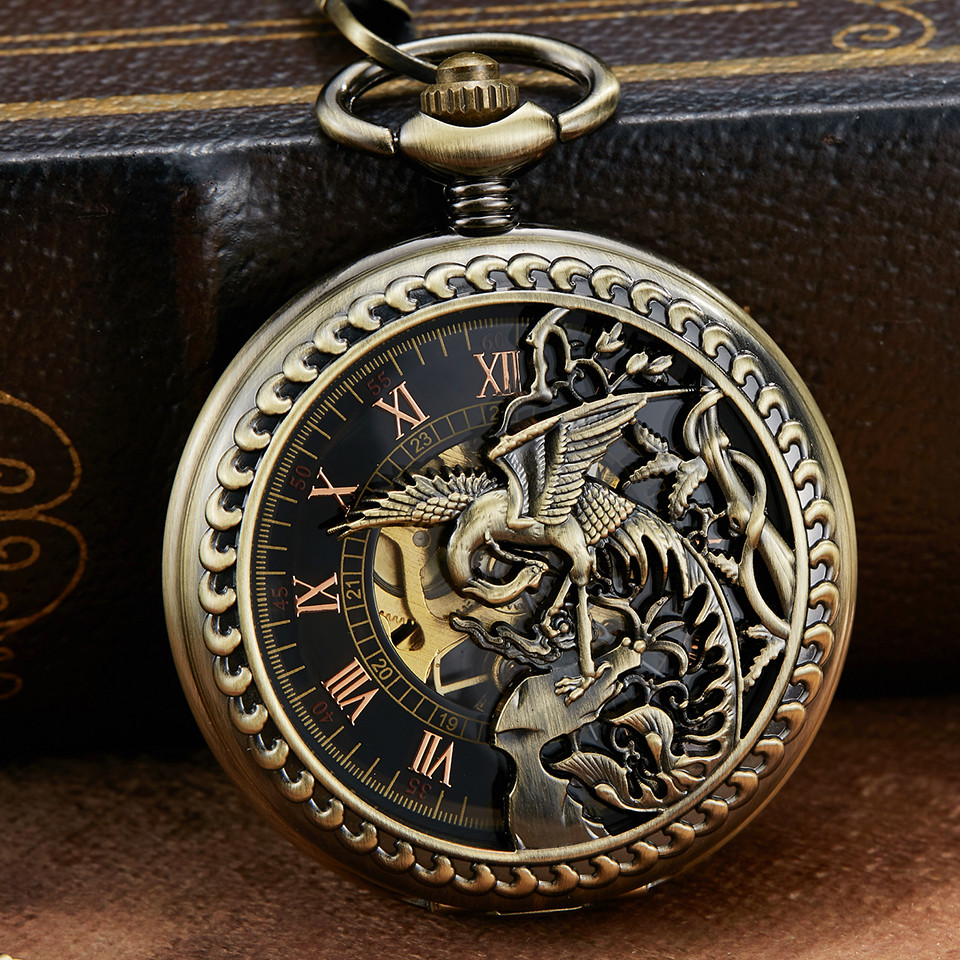 Hollow Bronze Unique Dragon Phoenix Sculpture Mechanical Pocket Watch Retro Luckly Symbol Roman Skeleton Mechanical Pocket Watch
