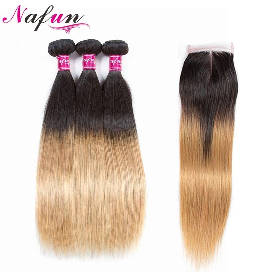 NAFUN Hair 3 Bundles Ombre Human Hair Bundles With Closure T1B 27 Honey Blonde Colored Peruvian