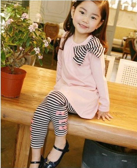 Retail-and-wholesle-2016spring-and-autumn-toddler-girl-clothing-sets-children-clothes-kids-top-with-bow
