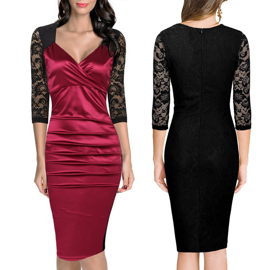 Patchwork Lace Half-sleeve V-neck Sheath Evening Bodycon Party Dress