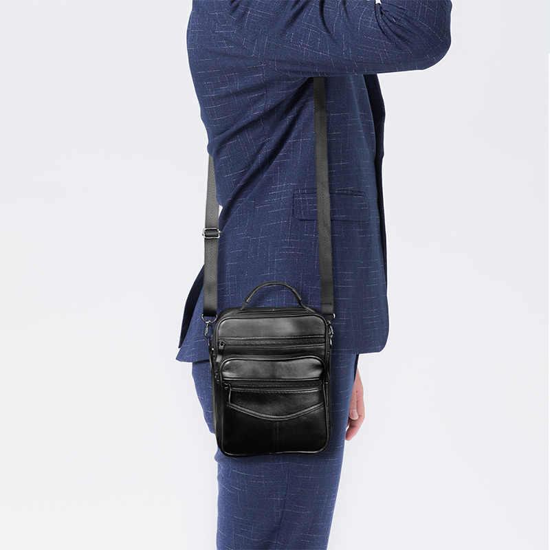 جلد طبيعي الذكور حقيبة كروسبودي حقيبة رجال الأعمال عادية جلدية حقيبة ساعي خمر الرجال حقيبة كبيرة سستة شنطة كتف