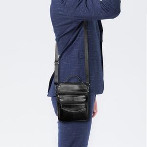 Image 5 - Genuine Leather Males Crossbody Bag Casual Business Leather Mens Messenger Bag Vintage Men Big Bag Zipper Shoulder Handbags
