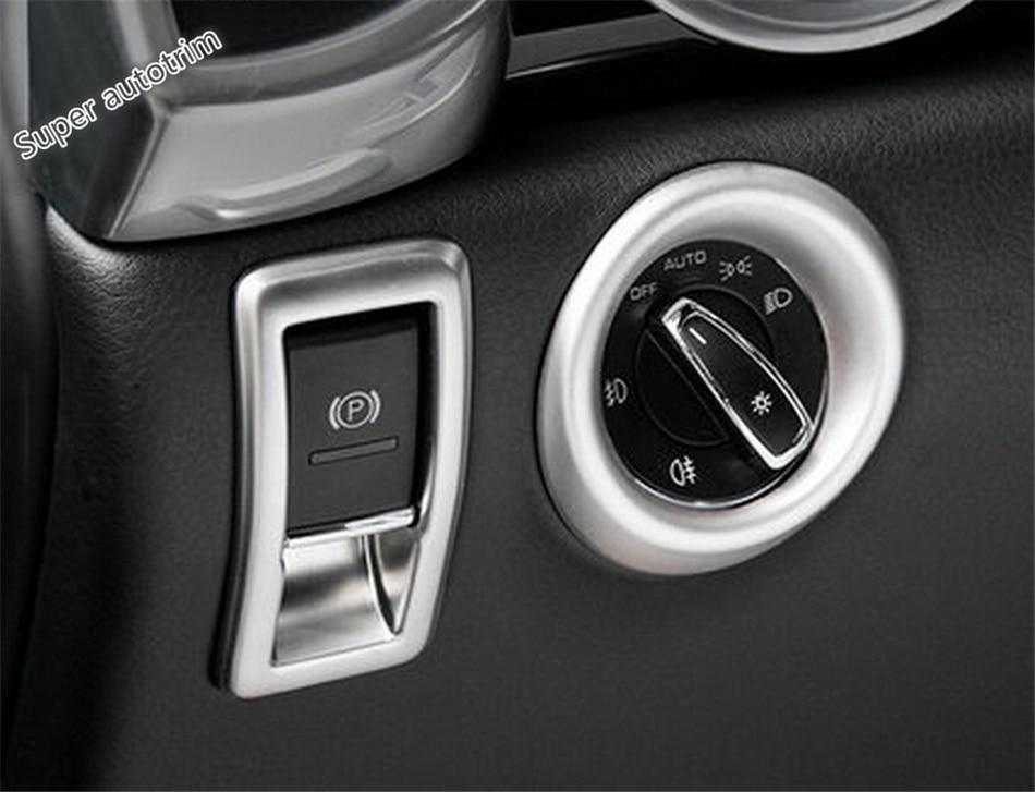 3 Color For Porsche Cayenne 2015 2016 2017 Metal Headlight Switch +Electronic Handbrake Decorative Frame Cover Cap Trim