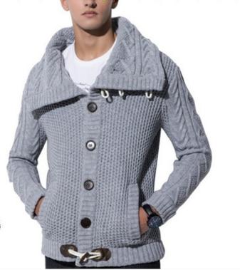 ZOGAA мужской кардиган, свитер, повседневные тонкие клеванты, пряжка, круассант, пуговицы, толстый хеджирование, водолазка, мужские вязаные свитера