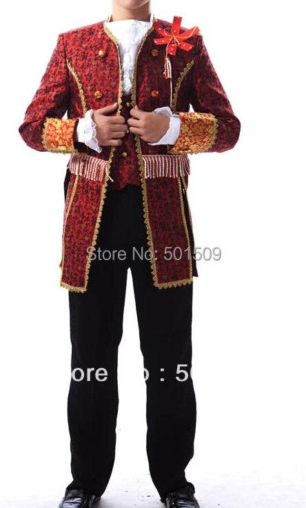 Livraison gratuite Renaissance médiévale hommes costume période Vampire Costumes performance/Prince William/guerre civile/Colonial Belle scène
