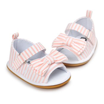 2017 Newdesign Baby Girl Gingham Or Stripe Butterfly-knot Hook & Loop Flat Heel Summer Sandals For (0-18) Months Baby 1