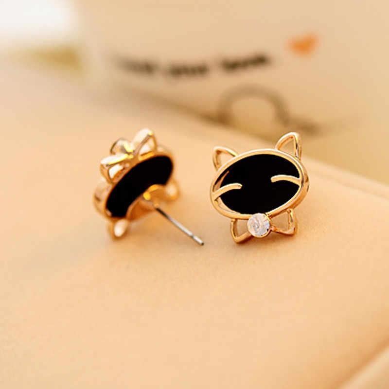 2019 Venta caliente de joyería de alta calidad de la oreja de la hembra 1 par de mujeres negro sonrisa gato de la oreja fina de la joyería caliente las ventas de