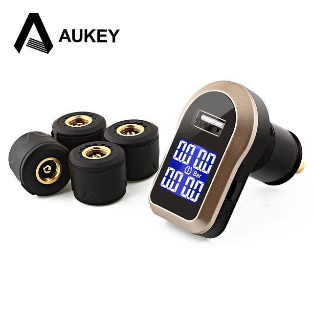 Aukey Wireless USB Port charger with Alarm Function LED for TPMS/Tire Pressure and Temperature Gauge with 4 External Sensors