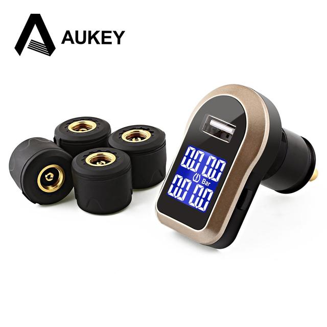 Aukey carregador porta usb com função de alarme sem fio levou para tpms pressão dos pneus/pneu e medidor de temperatura com 4 externo sensores