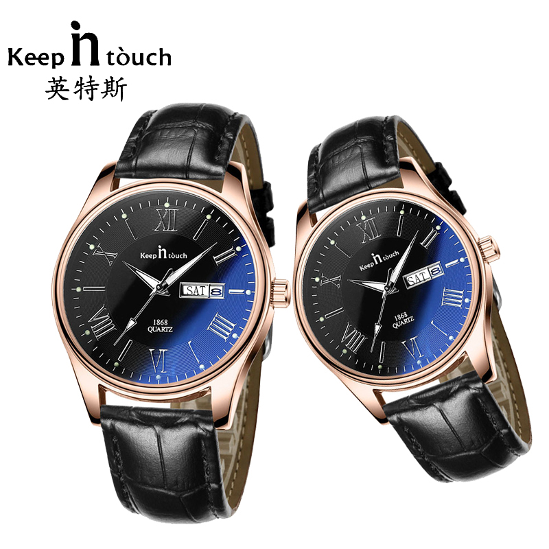 Casual Lovers Quartz Watch Relogio Feminino Men Women Gold Leather Calendar Watches Luminous Luxury Ladies Fashion Wristwatches fashion black watch men luminous calendar diamond watches quartz women waterproof luxury clock for lovers montre homme with box