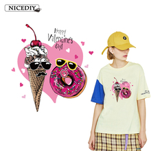 Nicediy Ice Cream Donut Heat Thermal Transfers Vinyl Patches Iron On Transfer For Tshirt Clothes Dessert Heart Patch Sticker DIY