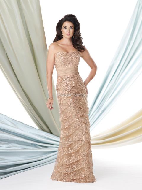 Elegante lantejoula lace softly curved decote Mãe da Noiva Vestido da mãe do noivo