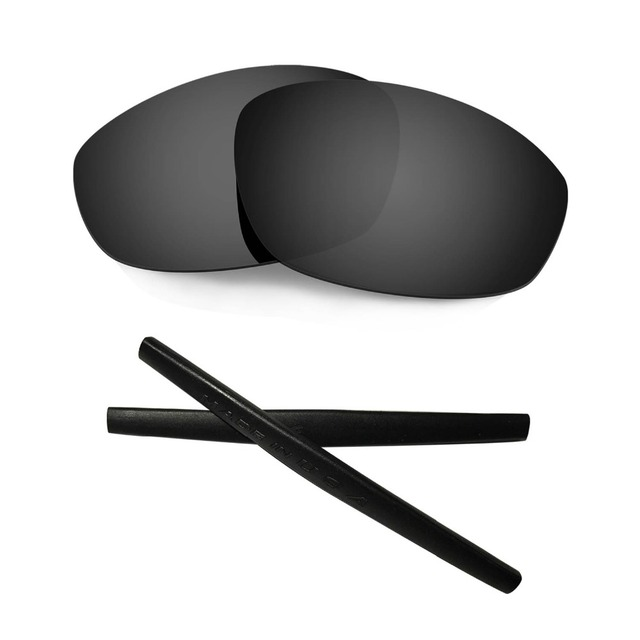 HKUCO For Oakley Flak Jacket Black Polarized Replacement Lenses And Grey Earsocks Rubber Kit N8EzZ
