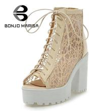 Ladies New Sexy Cutout Lace Upper Summer Shoes Thick High Heels Gladiator Sandals Charming Open Toe Shoes Woman Platform Sandals