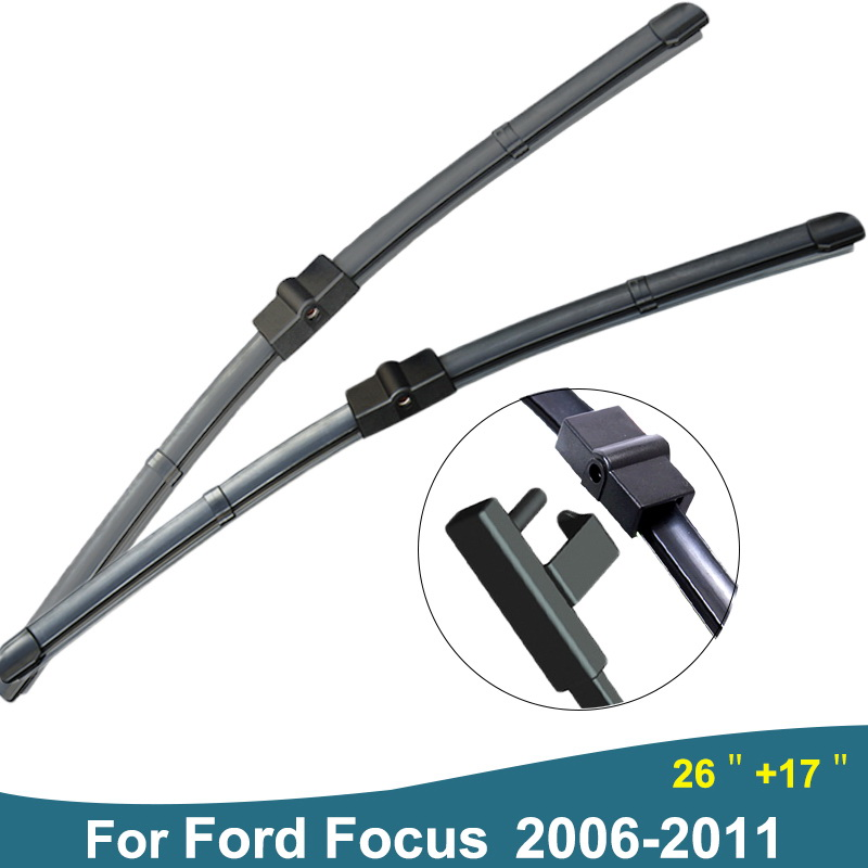 High Quality 2pcs(Size 26'+17') Soft Rubber Strip Boneless Car Wiper Blades Windscreen Wiper For Ford Focus 2 Auto Styling S530