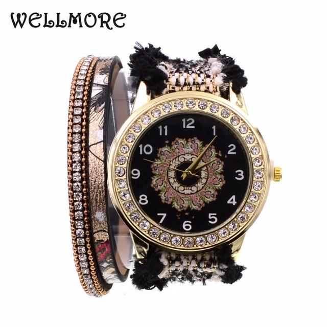 WELLMORE black lace ribbon fashion&casual quartz Wristwatches Bohemia bracelet w