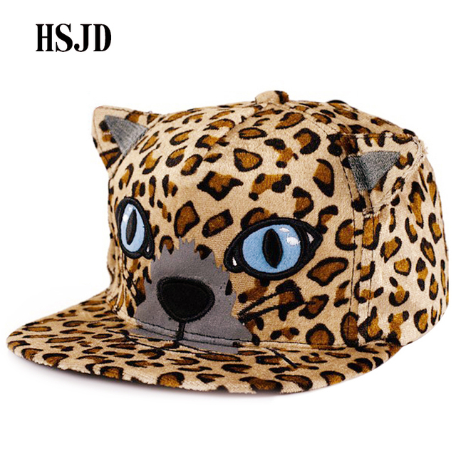 2584bbced2462 Snapback Leopard Print Adjustable Hip Hop Baseball Caps 2018 New Men Women  Cute Ears Blue-