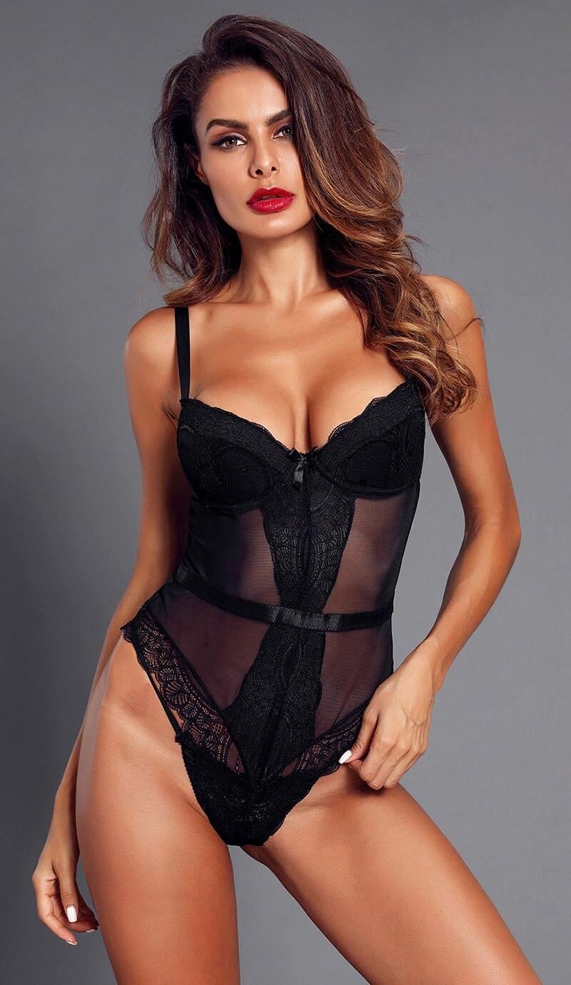 Black-Sheer-Lace-Spaghetti-Strap-Bodysuit-LC32259-2-5